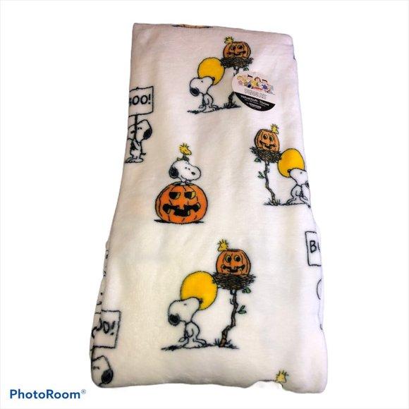 Halloween Throw Blanket BOO Soft Snoopy Woodstock